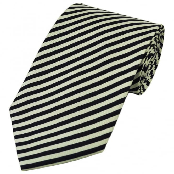 Navy Blue & White Striped Silk Tie