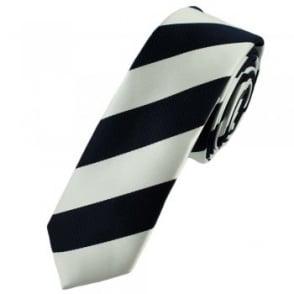 Navy Blue & White Striped Skinny Tie