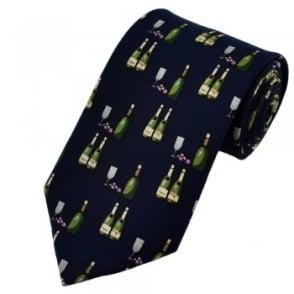 Navy Blue Wine Bottles & Glass Silk Tie