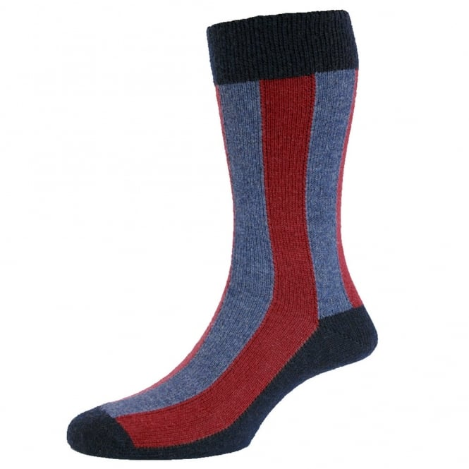 Navy Blue with Denim & Cranberry Vertical Stripes Lambswool Men's Socks by HJ Hall