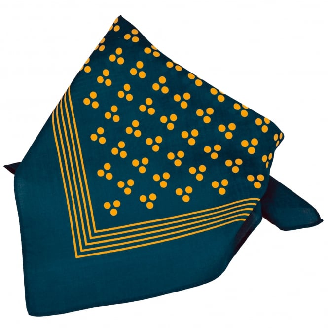 Navy Blue With Gold 3-Dot & Stripes Bandana Neckerchief