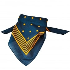 Navy Blue With Gold Stripes & Polka Dot Bandana Neckerchief
