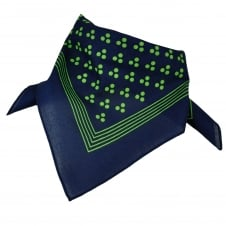 Navy Blue With Green 3-Dot & Stripes Bandana Neckerchief