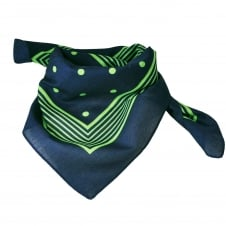 Navy Blue With Green Stripes & Polka Dot Bandana Neckerchief