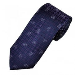 Navy Blue with Purple Square & Lilac Paisley Pattern Men's Silk Tie