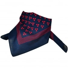 Navy Blue With Red 3-Dot & Stripes Bandana Neckerchief