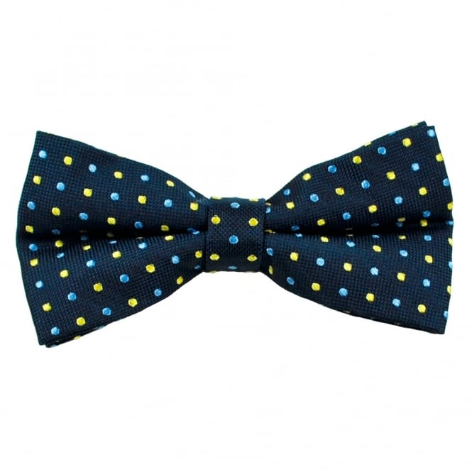 Navy Blue with Yellow & Blue Polka Dot Silk Bow Tie