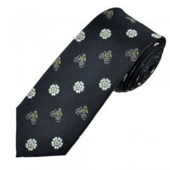 Navy Blue With Yorkshire Rose & Yellow Jersey Cycling Luxury Silk Narrow Men's Tie