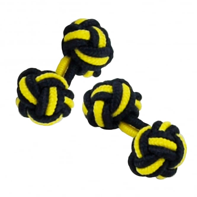 navy blue and yellow elastic knot cufflinks