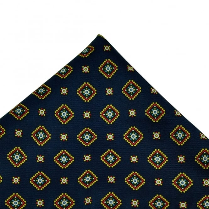 Navy Blue, Yellow, Green & White Patterned Handkerchief