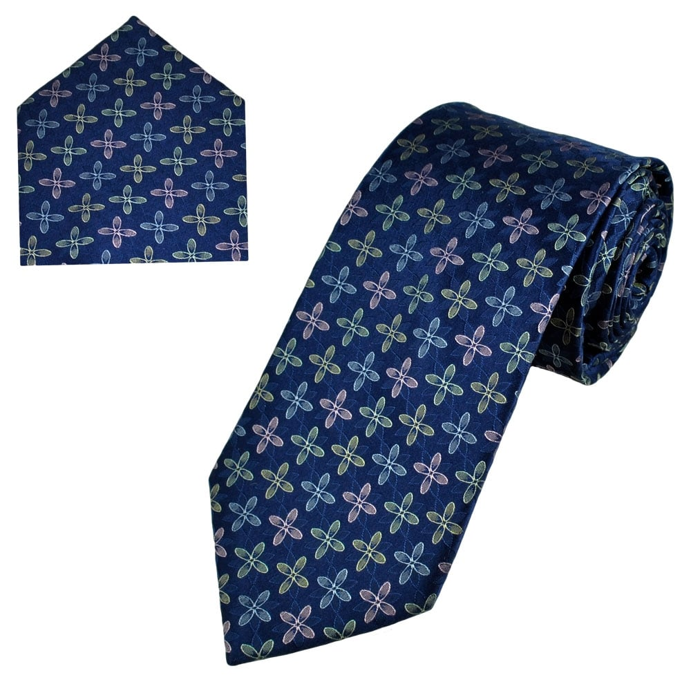 57bf518ef4c0 Navy Blue, Yellow, Pink & Silver Patterned Men's Silk Tie & Pocket Square  Set from Ties Planet UK