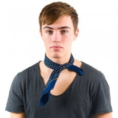 Navy Blue & Yellow Polka Dot Bandana Neckerchief