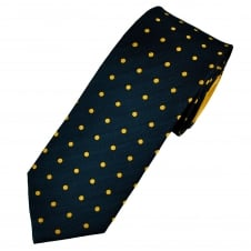 Navy Blue & Yellow Polka Dot Men's Silk Tie