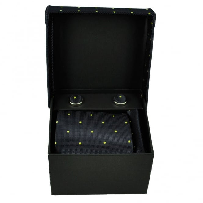 Navy Blue & Yellow Polka Dot Men's Tie, Hanky & Cufflinks Set