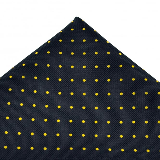 Navy Blue & Yellow Polka Dot Silk Pocket Square Handkerchief