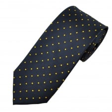 Navy Blue & Yellow Polka Dot Silk Tie
