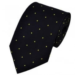 Navy Blue & Yellow Silk Polka Dot Tie