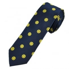 Navy Blue & Yellow Smiley Faces Luxury Silk Novelty Tie