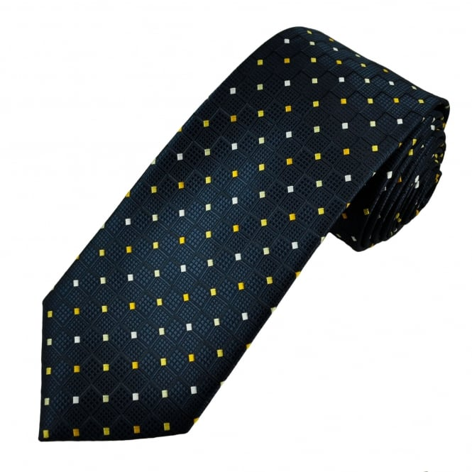 Navy Blue, Yellow & White Patterned Men's Tie