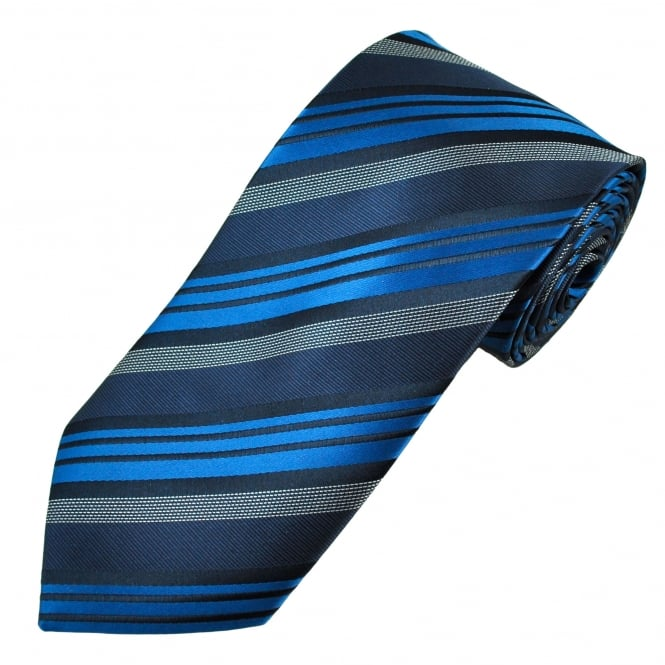 Navy, Cobalt Blue & Silver Striped Men's Tie