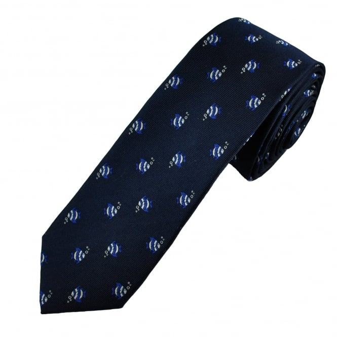 Navy Fish Luxury Silk Novelty Tie