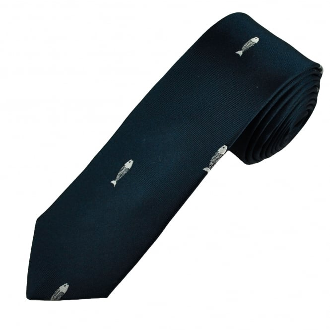 Navy Fishbones Luxury Silk Novelty Tie