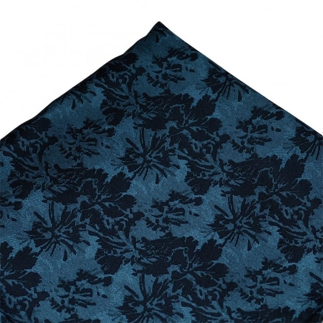 Navy Flower Patterned Silk Pocket Square Handkerchief