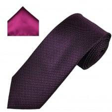 Navy & Fuchsia Pink Patterned Men's Tie & Pocket Square Set