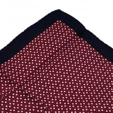 Navy, Fuchsia Pink & White Patterned Silk Pocket Square Handkerchief