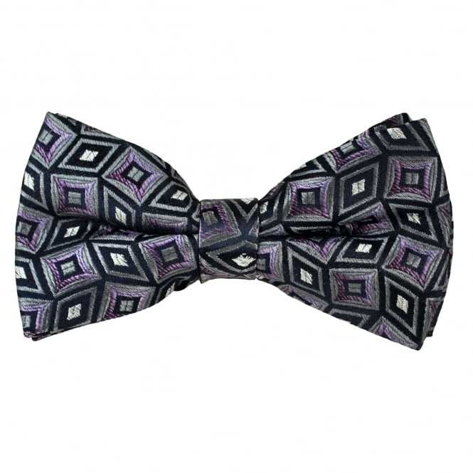 Navy, Grey & Purple Diamond Patterned Men's Bow Tie