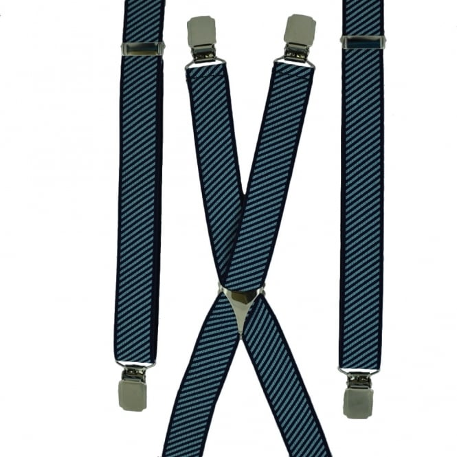 Navy & Light Blue Striped Skinny Trouser Braces