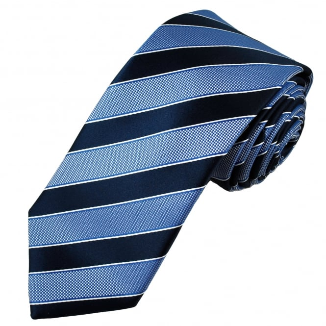 Navy, Light Blue & White Striped Men's Tie
