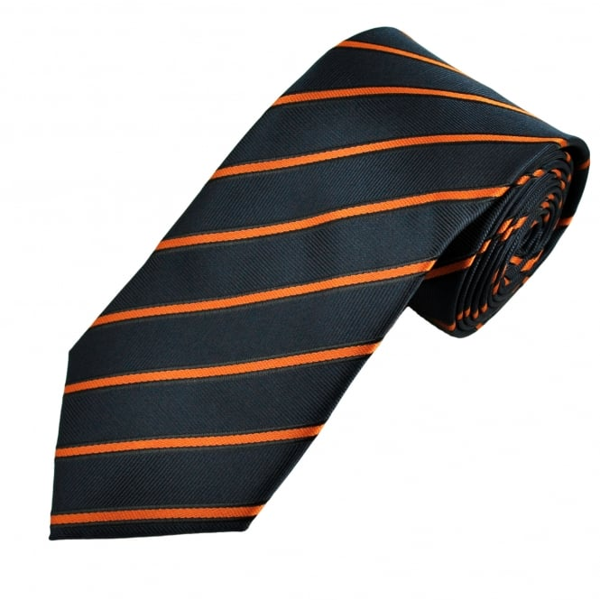 Navy, Orange & Black Striped Men's Tie