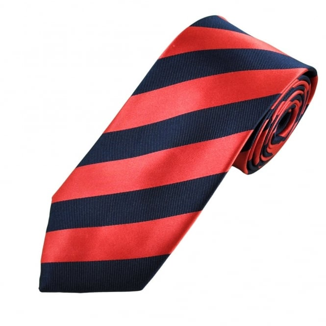 Navy & Raspberry Red Striped Men's Silk Tie