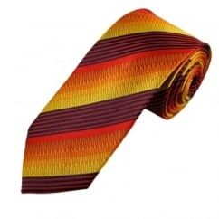 Navy, Red & Shades of Yellow Stripe Patterned Men's Silk Tie