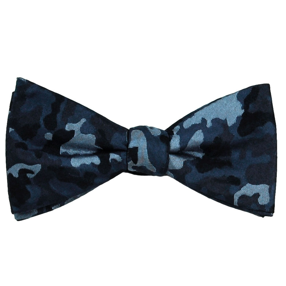 navy shades of blue camouflage patterned silk bow tie