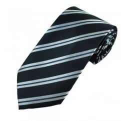 Navy & Silver Blue Stripe Men's Silk Tie - Gift Boxed