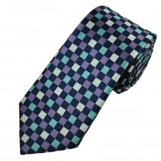 Navy, Silver, Lilac & Mint Square Patterned Men's Tie