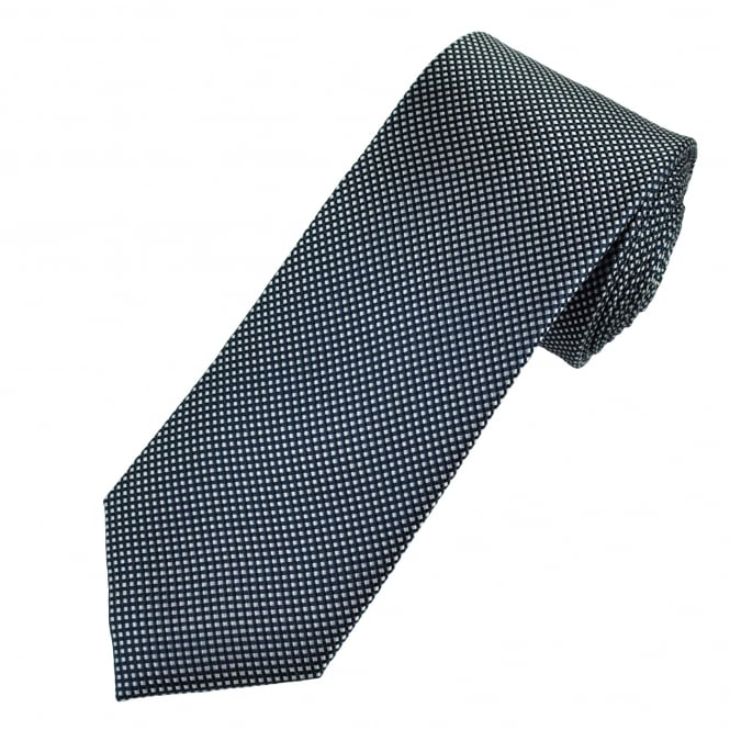 Navy & Silver Micro Square Patterned Men's Silk Tie