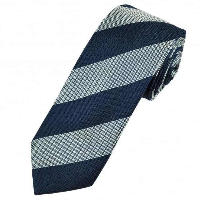 Navy & Silver Micro Woven Striped Patterned Men's Silk Tie