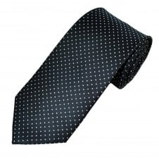 Navy & Silver Polka Dot Patterned Men's Tie