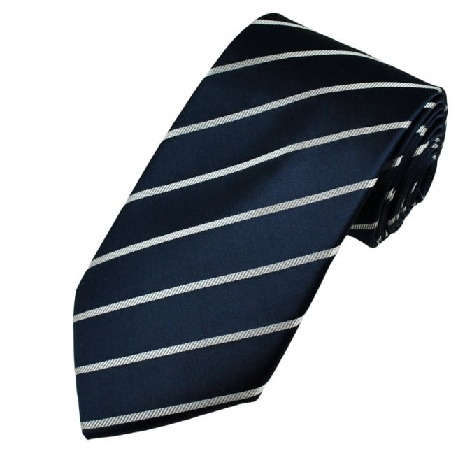 Navy & Silver White Stripe Men's Silk Tie - Gift Boxed