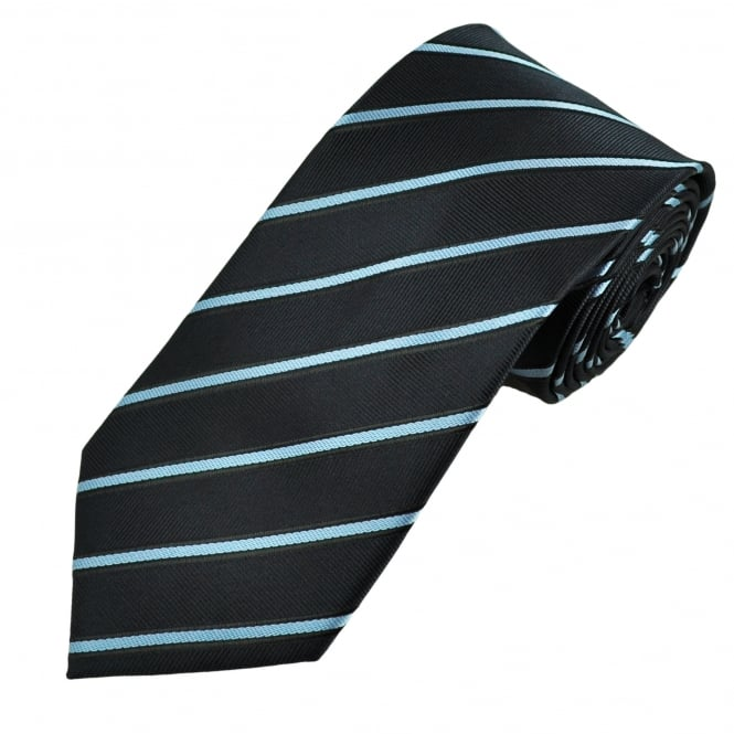 Navy, Sky Blue & Black Striped Men's Tie