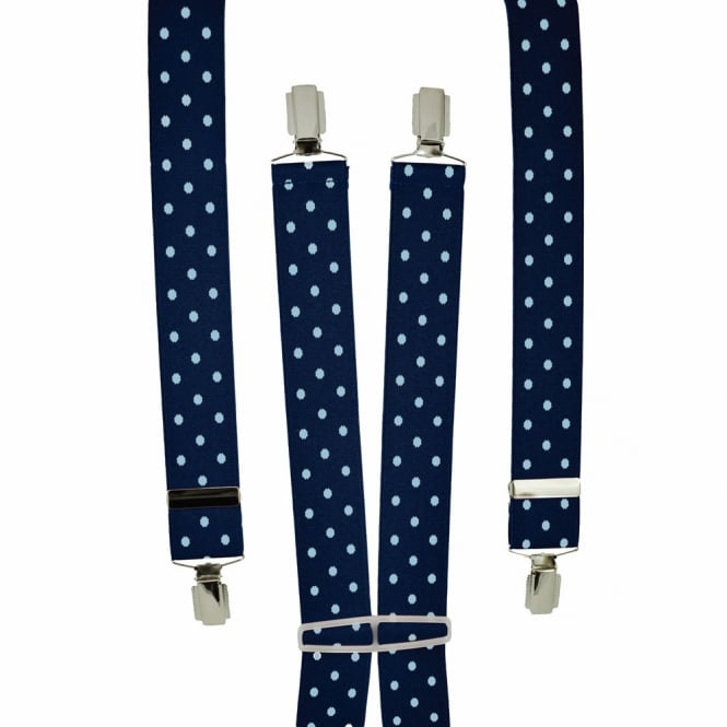 Navy & Sky Blue Polka Dot Men's Trouser Braces