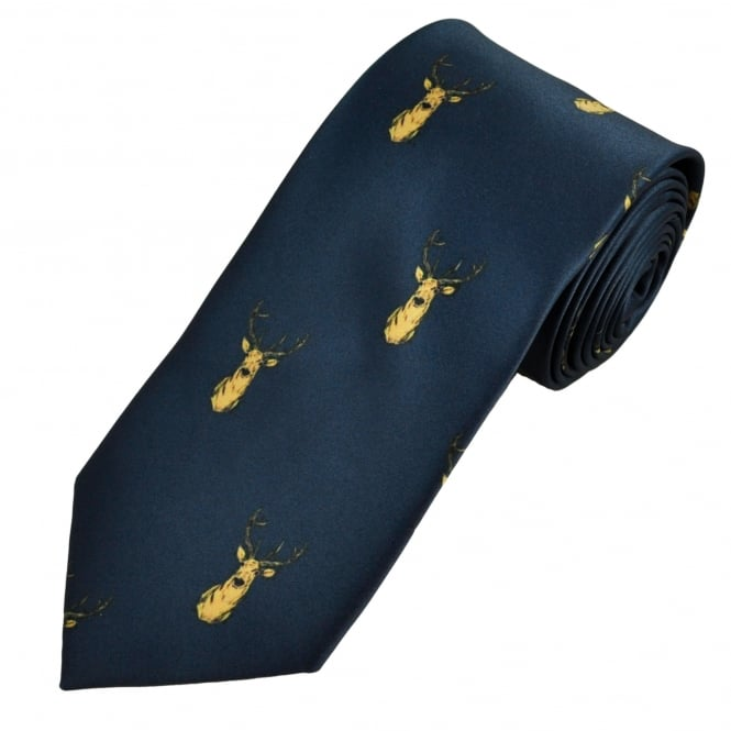 Navy Stag Head Country Tie
