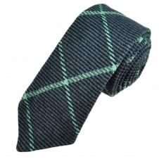 Navy & Turquoise Large Checked Patterned Tweed Wool Tie