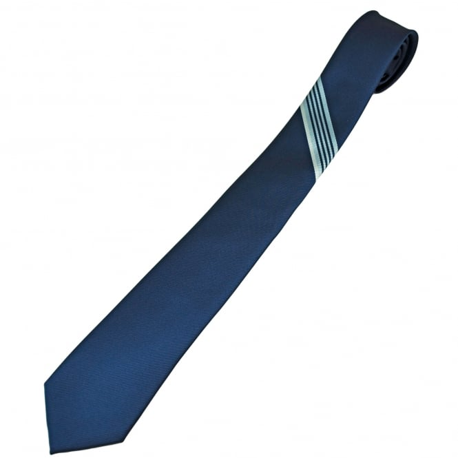 Navy with Light Blue & Ivory Stripes Men's Skinny Tie
