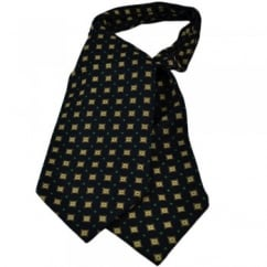 Navy with Off-White Floral Pattern Casual Cravat