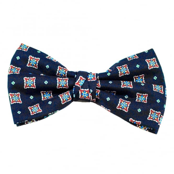 Navy With White, Red, Blue & Yellow Patterned Men's Bow Tie