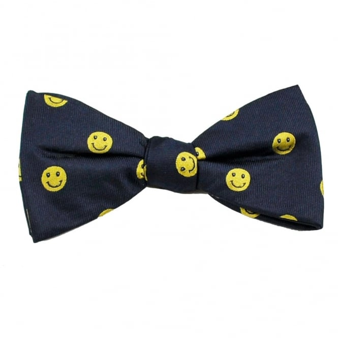 Navy & Yellow Smiley Faces Men's Silk Bow Tie
